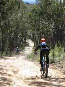 2 riders on the last long downhill