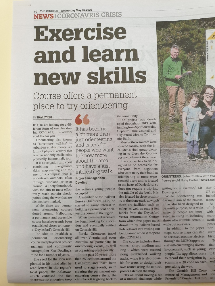 Ballarat Courier article Exercise and learn new skills p1
